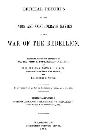 Primary view of object titled 'Official Records of the Union and Confederate Navies in the War of the Rebellion. Series 1, Volume 7.'.