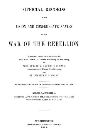 Primary view of object titled 'Official Records of the Union and Confederate Navies in the War of the Rebellion. Series 1, Volume 8.'.