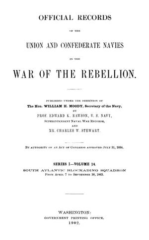 Primary view of object titled 'Official Records of the Union and Confederate Navies in the War of the Rebellion. Series 1, Volume 14.'.