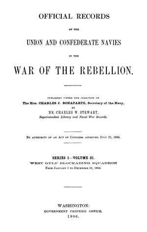 Official Records of the Union and Confederate Navies in the War of the Rebellion. Series 1, Volume 21.