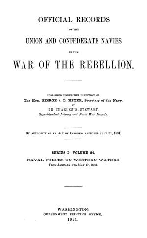 Primary view of object titled 'Official Records of the Union and Confederate Navies in the War of the Rebellion. Series 1, Volume 24.'.