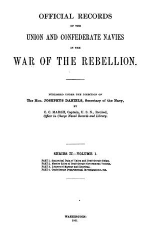 Primary view of object titled 'Official Records of the Union and Confederate Navies in the War of the Rebellion. Series 2, Volume 1.'.