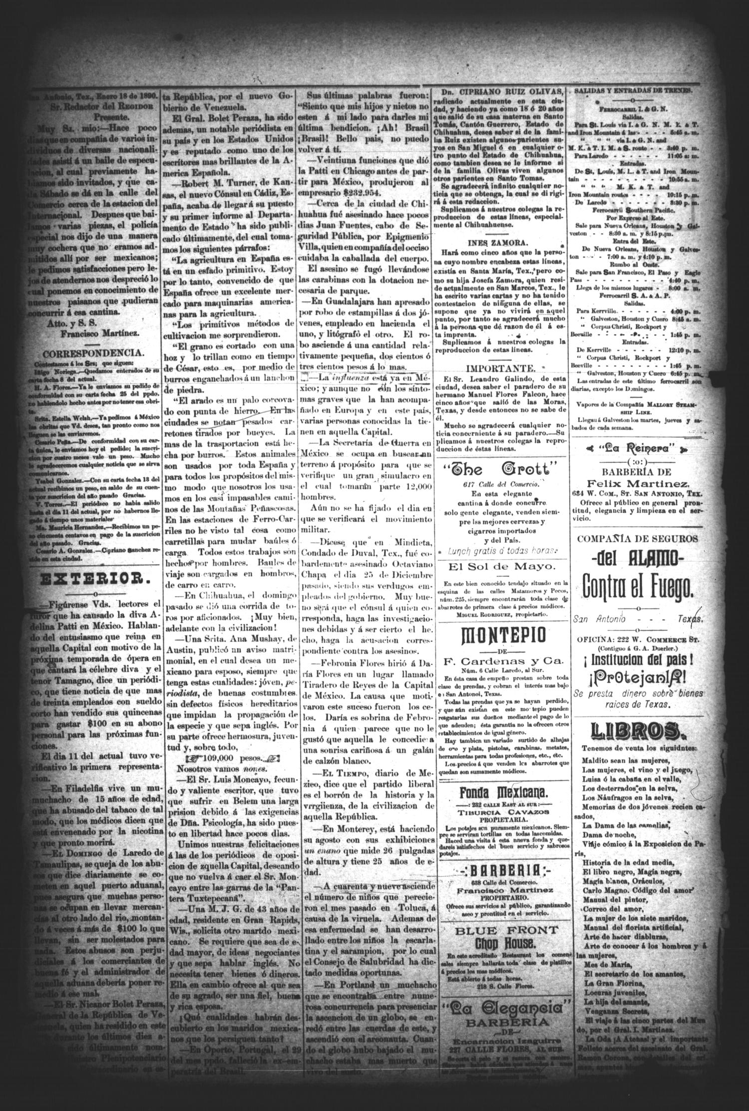 El Regidor. (San Antonio, Tex.), Vol. 2, No. 54, Ed. 1 Saturday, January 18, 1890                                                                                                      [Sequence #]: 4 of 4