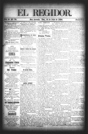 El Regidor. (San Antonio, Tex.), Vol. 2, No. 76, Ed. 1 Saturday, July 12, 1890