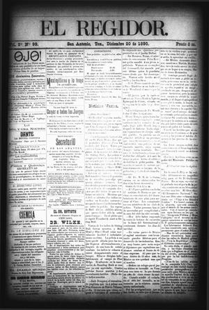 El Regidor. (San Antonio, Tex.), Vol. 3, No. 98, Ed. 1 Saturday, December 20, 1890