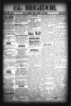 El Regidor. (San Antonio, Tex.), Vol. 3, No. 112, Ed. 1 Saturday, April 4, 1891