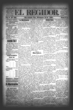 El Regidor. (San Antonio, Tex.), Vol. 3, No. 142, Ed. 1 Saturday, November 14, 1891