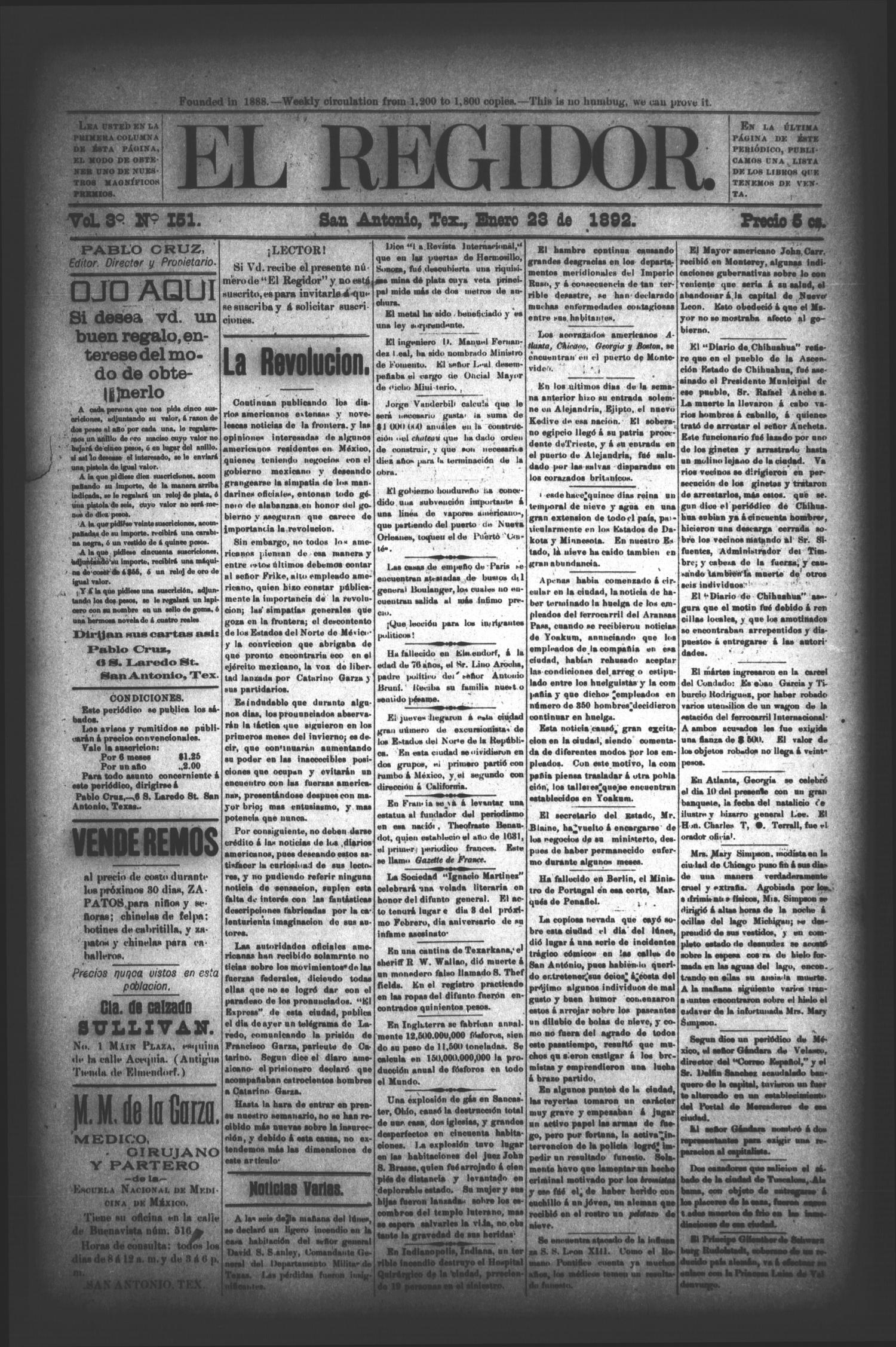 El Regidor. (San Antonio, Tex.), Vol. 3, No. 151, Ed. 1 Saturday, January 23, 1892                                                                                                      [Sequence #]: 1 of 4