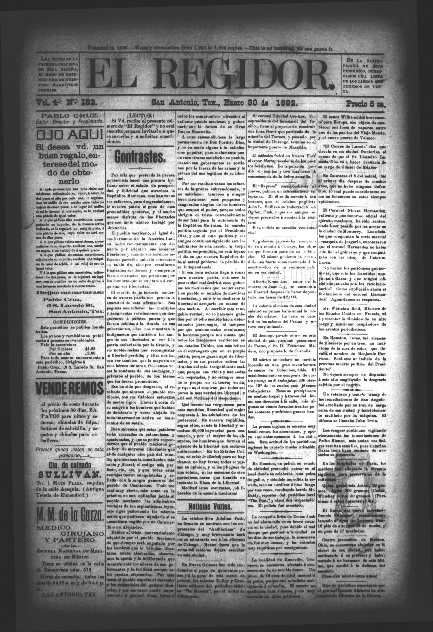 El Regidor. (San Antonio, Tex.), Vol. 4, No. 152, Ed. 1 Saturday, January 30, 1892                                                                                                      [Sequence #]: 1 of 4