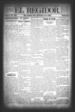 El Regidor. (San Antonio, Tex.), Vol. 4, No. 189, Ed. 1 Saturday, November 5, 1892