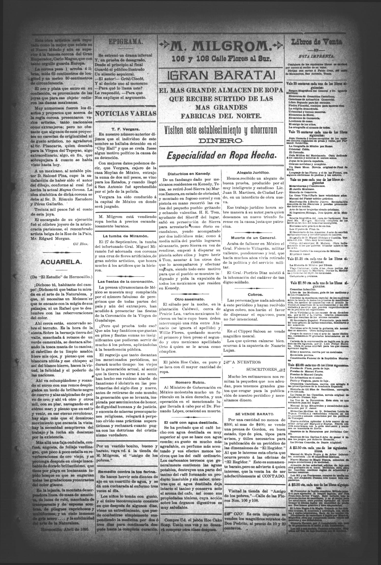 El Regidor. (San Antonio, Tex.), Vol. 8, No. 335, Ed. 1 Saturday, October 12, 1895                                                                                                      [Sequence #]: 3 of 4