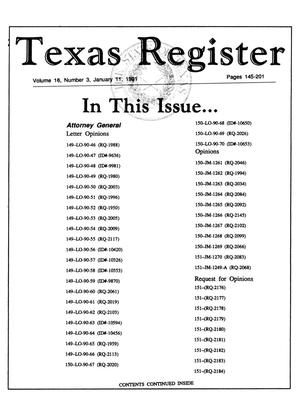 Primary view of object titled 'Texas Register, Volume 16, Number 3, Pages 145-201, January 11, 1991'.