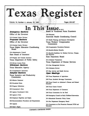 Primary view of object titled 'Texas Register, Volume 16, Number 4, Pages 203-267, January 15, 1991'.
