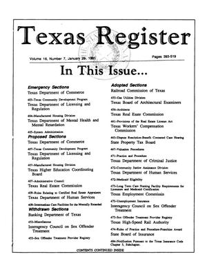 Primary view of object titled 'Texas Register, Volume 16, Number 7, Pages 393-519, January 29, 1991'.