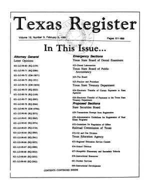 Primary view of object titled 'Texas Register, Volume 16, Number 9, Pages 611-688, February 5, 1991'.