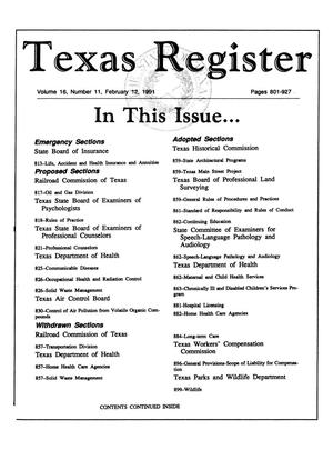 Primary view of object titled 'Texas Register, Volume 16, Number 11, Pages 801-927, February 12, 1991'.