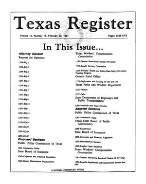 Primary view of object titled 'Texas Register, Volume 16, Number 15, Pages 1243-1313, February 26, 1991'.