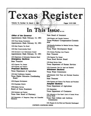 Primary view of object titled 'Texas Register, Volume 16, Number 16, Pages 1315-1396, March 1, 1991'.