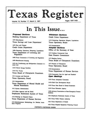 Primary view of object titled 'Texas Register, Volume 16, Number 17, Pages 1397-1429, March 5, 1991'.