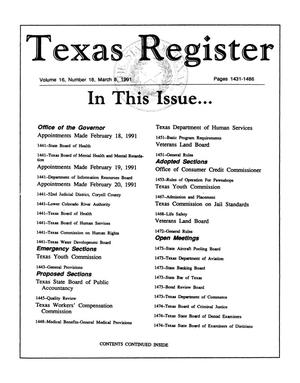 Primary view of object titled 'Texas Register, Volume 16, Number 18, Pages 1431-1486, March 8, 1991'.