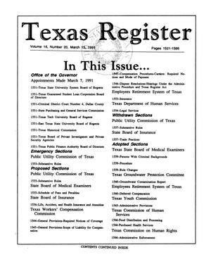 Primary view of Texas Register, Volume 16, Number 20, Pages 1521-1586, March 15, 1991