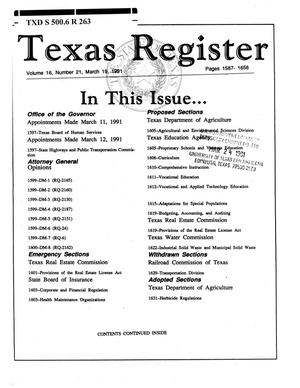 Primary view of object titled 'Texas Register, Volume 16, Number 21, Pages 1587-1656, March 19, 1991'.