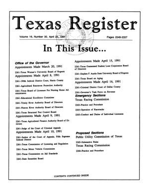 Primary view of object titled 'Texas Register, Volume 16, Number 30, Pages 2249-2337, April 23, 1991'.