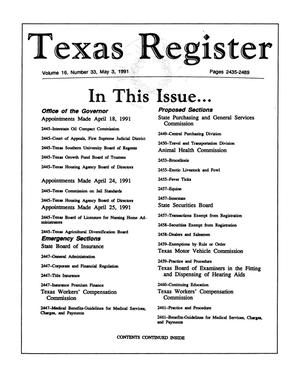 Primary view of object titled 'Texas Register, Volume 16, Number 33, Pages 2435-2489, May 3, 1991'.