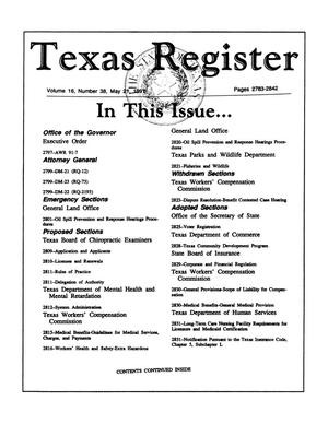 Primary view of object titled 'Texas Register, Volume 16, Number 38, Pages 2783-2842, May 21, 1991'.