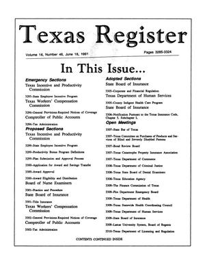 Primary view of object titled 'Texas Register, Volume 16, Number 46, Pages 3285-3324, June 18, 1991'.