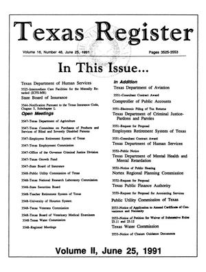Primary view of object titled 'Texas Register, Volume 16, Number 48, (Volume II), Pages 3525-3553, June 25, 1991'.
