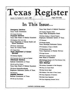 Primary view of object titled 'Texas Register, Volume 16, Number 51, Pages 3747-3798, July 5, 1991'.