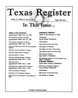Primary view of object titled 'Texas Register, Volume 16, Number 54, Pages 3967-4030, July 19, 1991'.