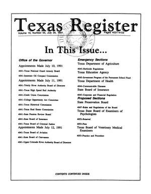 Primary view of object titled 'Texas Register, Volume 16, Number 55, Pages 4031-4103, July 26, 1991'.