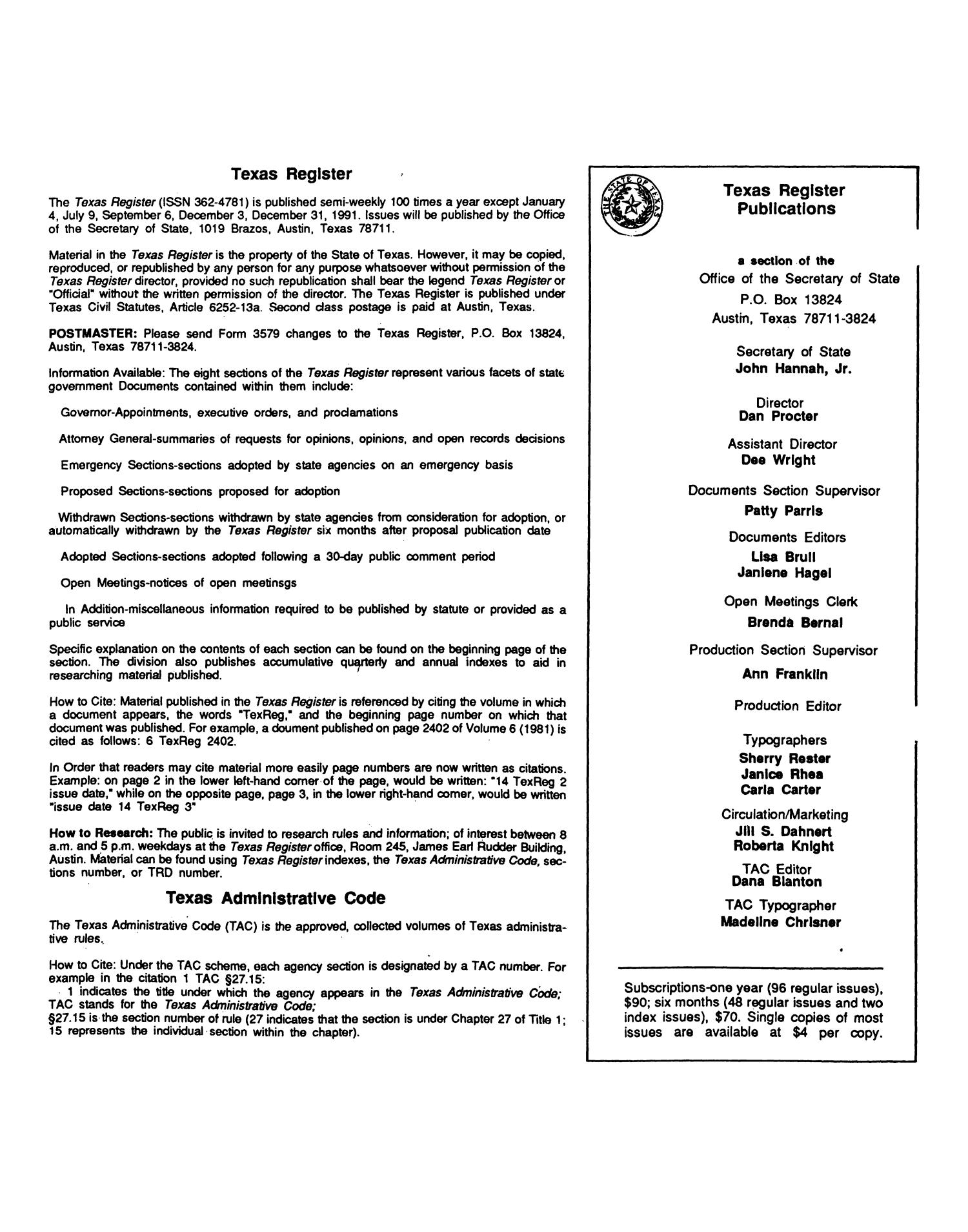 Texas Register, Volume 16, Number 57, Pages 4193-4244, August 2, 1991                                                                                                      None