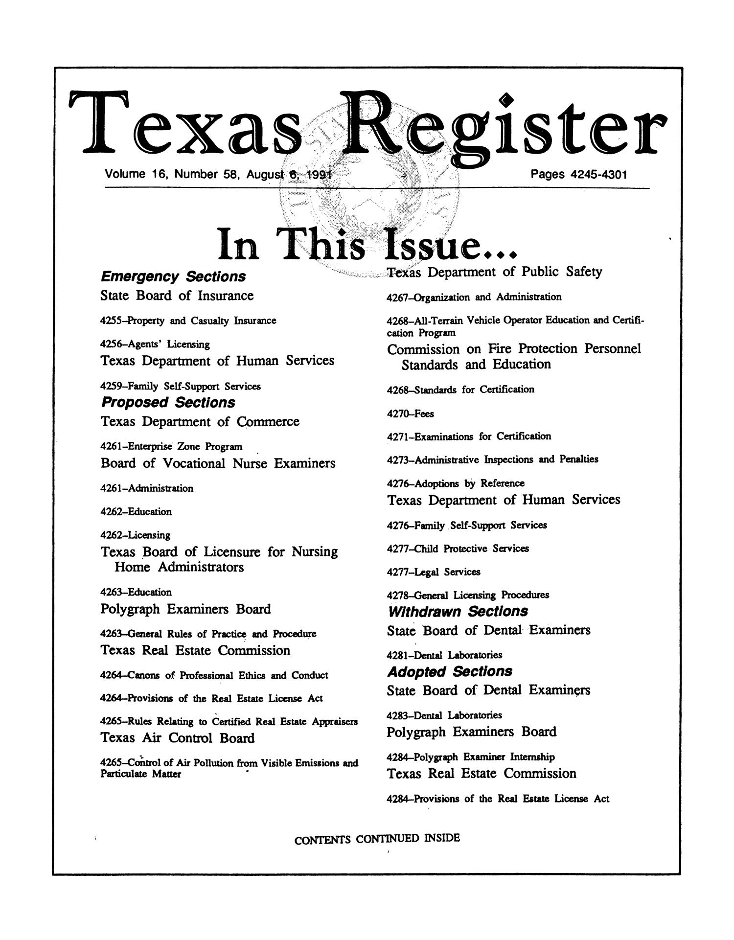 Texas Register, Volume 16, Number 58, Pages 4245-4301