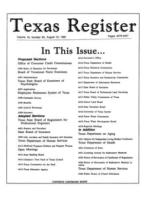 Primary view of object titled 'Texas Register, Volume 16, Number 60, Pages 4379-4427, August 13, 1991'.