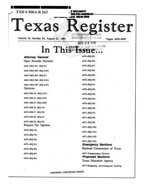 Primary view of object titled 'Texas Register, Volume 16, Number 64, Pages 4659-4695, August 27, 1991'.