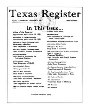 Primary view of object titled 'Texas Register, Volume 16, Number 67, Pages 4875-4990, September 10, 1991'.