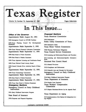 Primary view of object titled 'Texas Register, Volume 16, Number 72, Pages 5289-5356, September 27, 1991'.