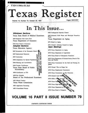 Primary view of object titled 'Texas Register, Volume 16, Number 79, (Part II), Pages 6045-6091, October 25, 1991'.