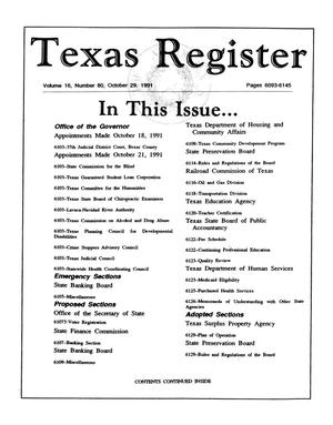Primary view of object titled 'Texas Register, Volume 16, Number 80, Pages 6093-6145, October 29, 1991'.