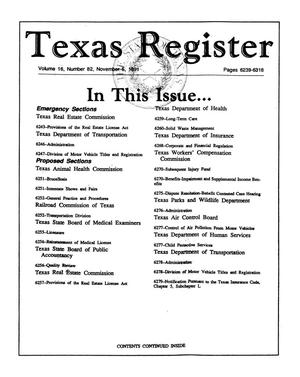 Primary view of object titled 'Texas Register, Volume 16, Number 82, Pages 6239-6318, November 5, 1991'.