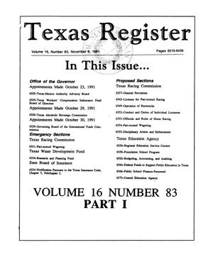 Primary view of object titled 'Texas Register, Volume 16, Number 83, (Part I), Pages 6319-6439, November 8, 1991'.