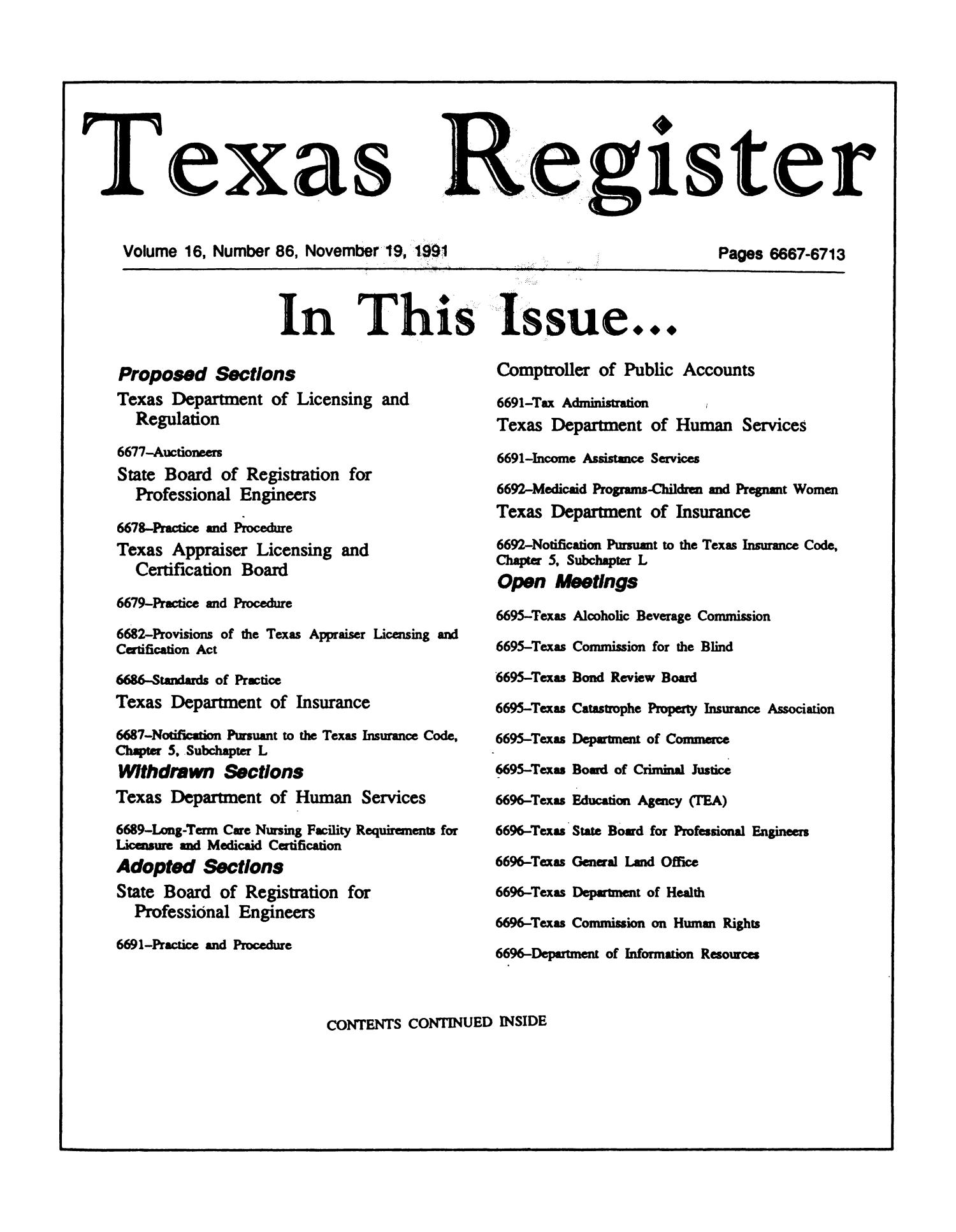 Texas register volume 16 number 86 pages 6667 6713 november 19 texas register volume 16 number 86 pages 6667 6713 november 19 1991 the portal to texas history xflitez Image collections