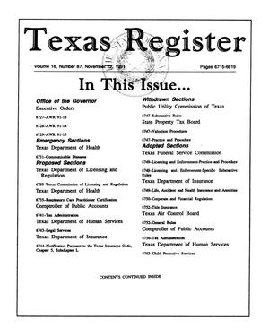 Primary view of object titled 'Texas Register, Volume 16, Number 87, Pages 6715-6819, November 22, 1991'.