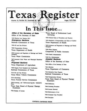 Primary view of object titled 'Texas Register, Volume 16, Number 95, Pages 7573-7664, December 24, 1991'.