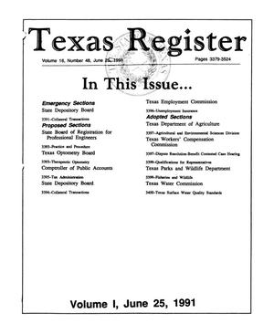 Primary view of object titled 'Texas Register, Volume 16, Number 48, (Volume I), Pages 3379-3524, June 25, 1991'.