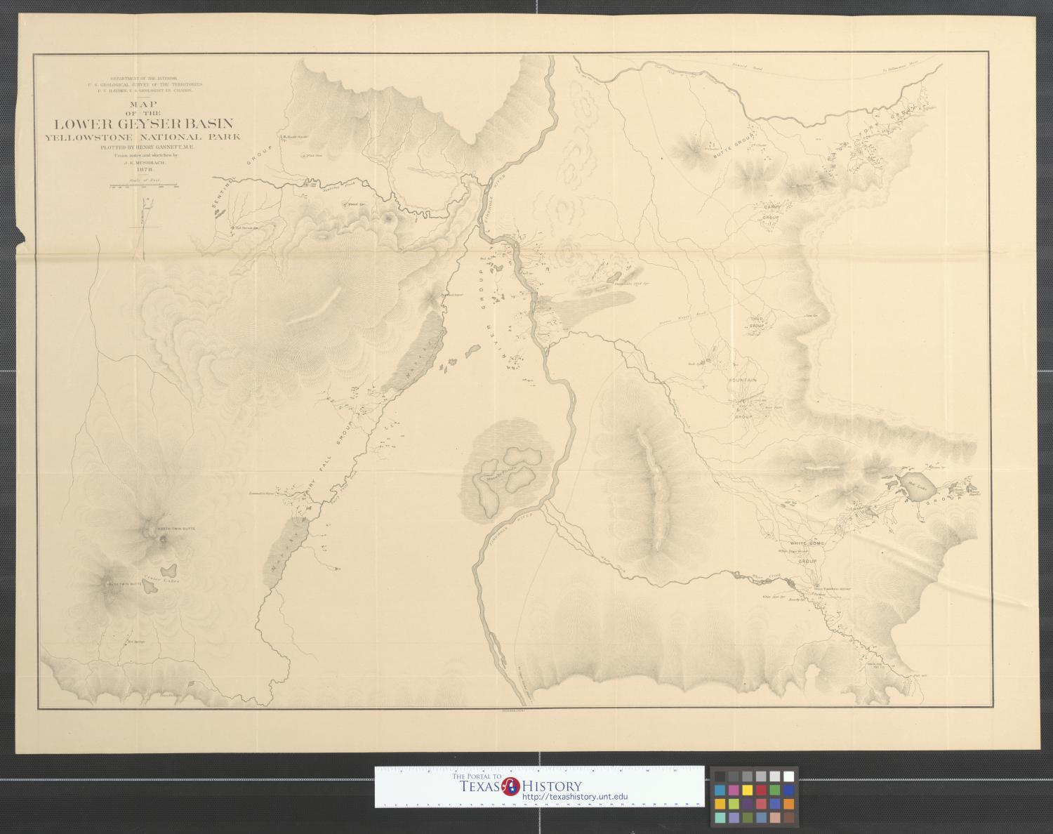 Map of the Lower Geyser Basin, Yellowstone National Park. - The ...