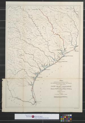 Primary view of object titled 'Map showing relative geographical position of San Bernard River & other waterways: Estimates for whose improvement for a light draft navigation have been submitted to Congress.'.